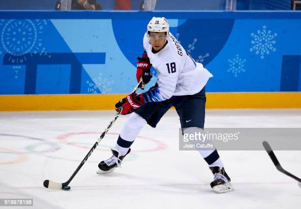 Jordan Greenway of United States during the Men's Ice Hockey Preliminary Round between USA and Olympic Athletes from Russia at Gangneung Hockey...