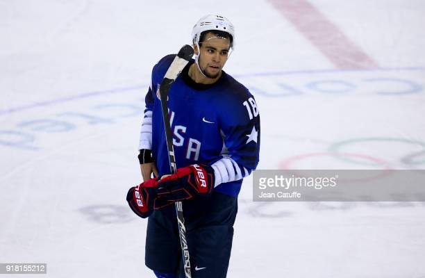 Jordan Greenway of USA during the Ice Hockey Men Preliminary Round match between USA and Slovenia at Kwandong Hockey Centre on February 14, 2018 in...