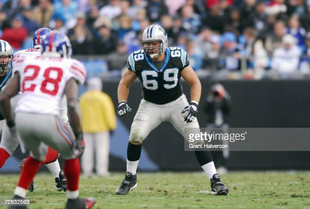 Jordan Gross of the Carolina Panthers gets ready to move at the snap during the game against the New York Giants on December 10 at Bank of America...