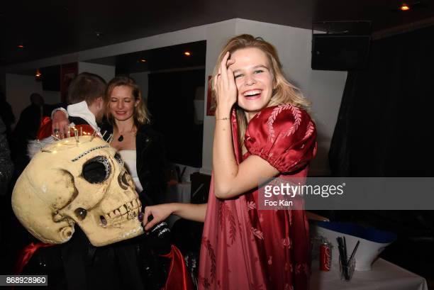Jordan Guisnel from Voltage Radio in skeletton suit and Julie Jardon attend the Bal des Vampires 2017 at Pavillon Champs Elysees on October 31 2017...