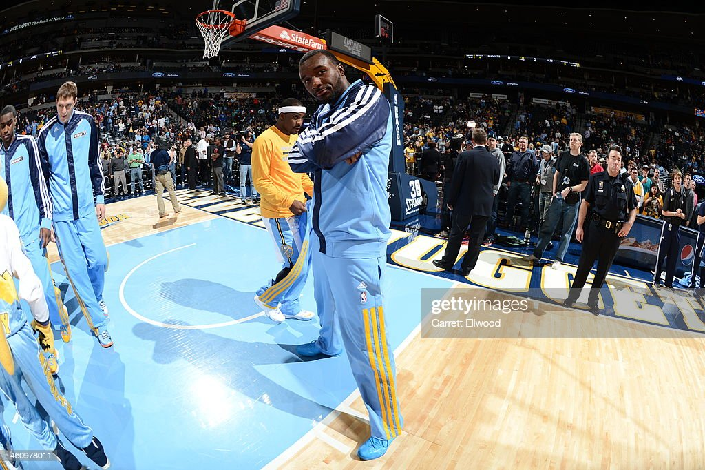 Jordan Hamilton #1 of the Denver Nuggets stands on the court before the game against the Utah Jazz on December 13, 2013 at the Pepsi Center in Denver, Colorado.