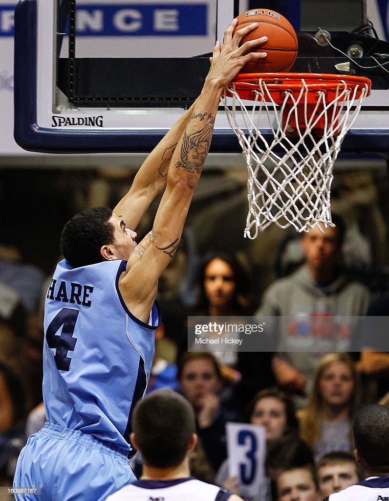 Jordan Hare #4 of the Rhode Island Rams goes up for a dunk against the Butler Bulldogs at Hinkle Fieldhouse on February 2, 2013 in Indianapolis, Indiana. Butler defeated Rhode Island 75-68.