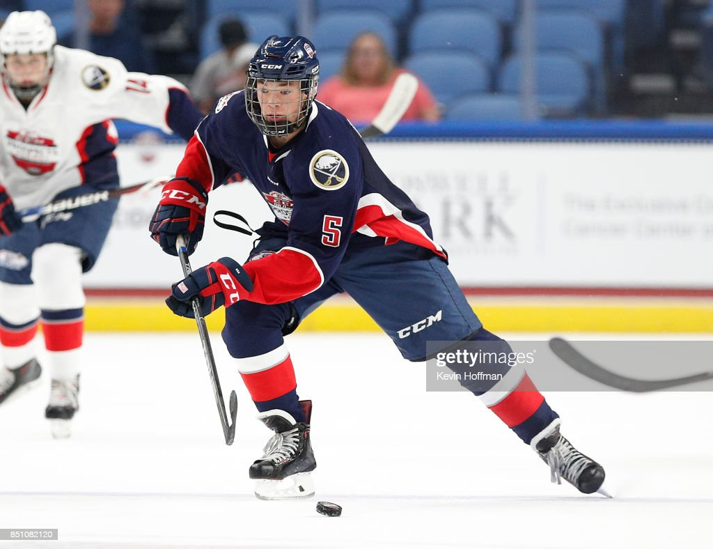 Jordan Harris #5 of Team Leetch skates up ice with the puck in the second period during the CCM/USA Hockey All-American Prospects Game at the KeyBank Center on September 21, 2017 in Buffalo, New York.