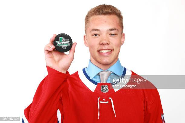 Jordan Harris poses after being selected 71st overall by the Montreal Canadiens during the 2018 NHL Draft at American Airlines Center on June 23 2018...