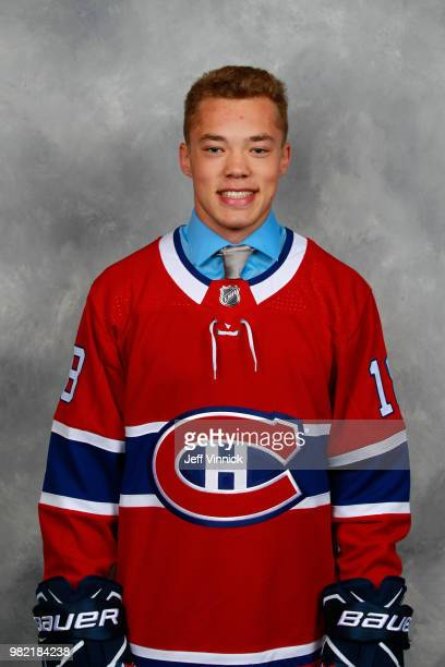 Jordan Harris poses for a portrait after being selected 71st overall by the Montreal Canadiens during the 2018 NHL Draft at American Airlines Center...