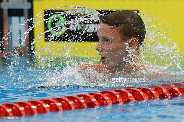 Jordan Harrison of Australia shakes his head after winning the Men's 1500 Metre Freestyle during day eight of the Australian Swimming Championships...