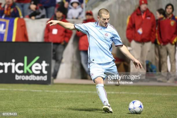 Jordan Harvey Colorado Rapids kicks the ball against the Real Salt Lake of at Rio Tinto Stadium on October 24 2009 in Sandy Utah