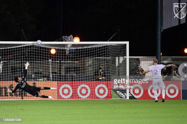 Jordan Harvey of Los Angeles FC misses a penalty in the penalty shoot-out during a quarter final match of MLS Is Back Tournament between Orlando City...