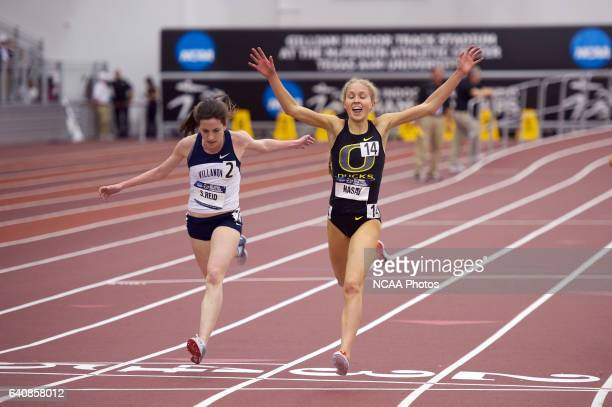 Jordan Hasay of Oregon barely beats Sheila Reid of Villanova in the 3000 Meter Run during the Division I Men's and Women's Indoor Track and Field...