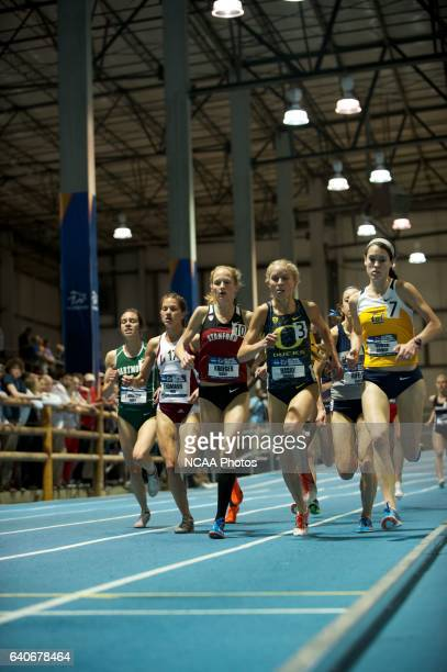 Jordan Hasay of Oregon leads the pack in the women's 1 mile run during the Division I Men's and Women's Indoor Track and Field Championship held at...