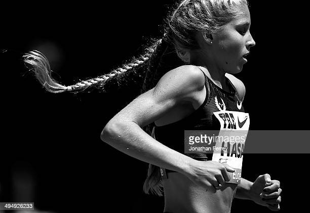Jordan Hasay of the United States runs in the 2Mile race during day 2 of the IAAF Diamond League Nike Prefontaine Classic on May 31 2014 at the...