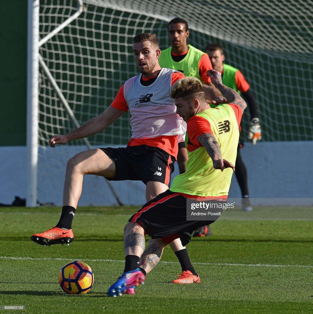 Jordan Henderson and Alberto Moreno of Liverpool during a training session at La Manga on February 16, 2017 in La Manga, Spain.