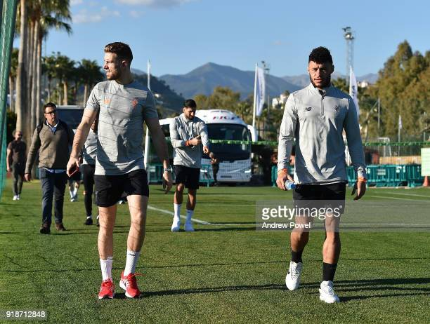 Jordan Henderson and Alex OxladeChamberlain of Liverpool during a training session at the Marbella Football Center on February 15 2018 in Marbella...