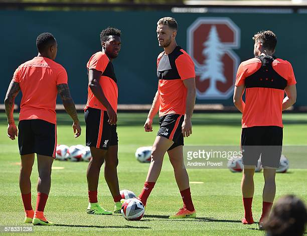 Jordan Henderson and Daniel Sturridge of Liverpool during a training session at Stanford University on July 21 2016 in San Jose California
