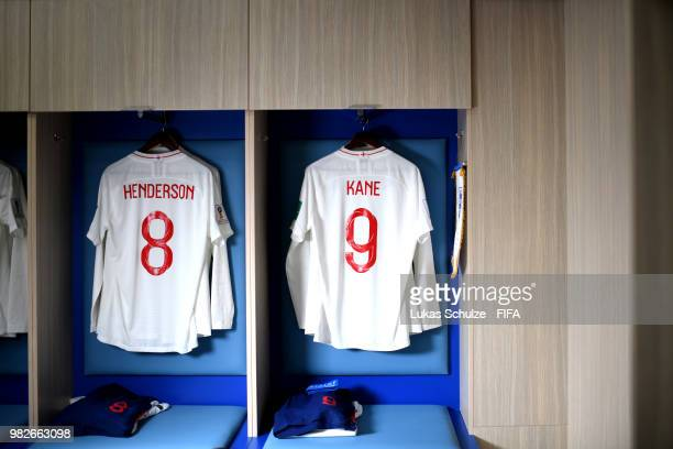 Jordan Henderson and Harry Kane's shirts hang in the England dressing room prior to the 2018 FIFA World Cup Russia group G match between England and...