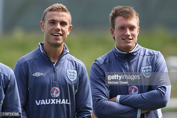 Jordan Henderson and Phil Jones during the England U21's training session at Montjasa Park Stadium on June 9 2011 in Fredericia Denmark