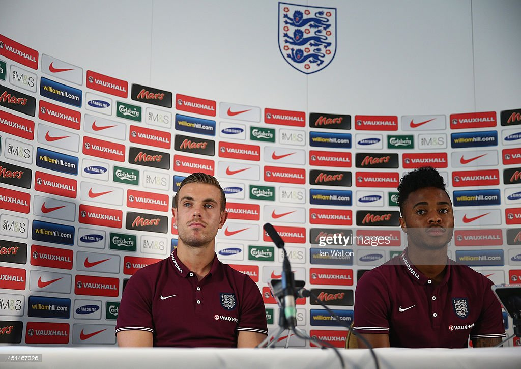 Jordan Henderson and Raheem Sterling speak to the press during a England Press Conference before the international friendly match against Norway at the Grove hotel on September 1, 2014 in London, England.