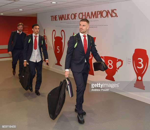 Jordan Henderson and Trent AlexanderArnold of Liverpool arrives before the Premier League match between Liverpool and West Ham United at Anfield on...