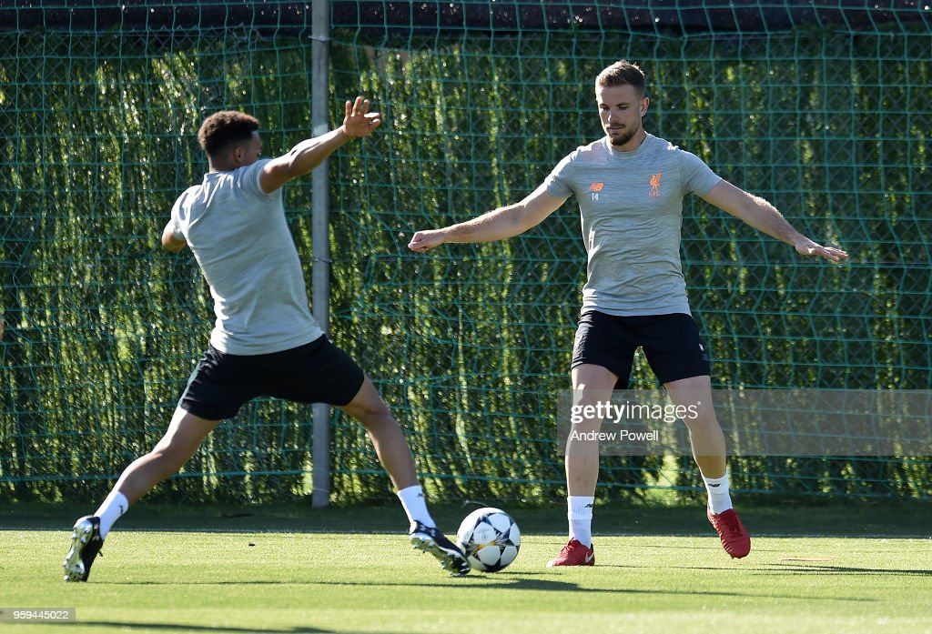 Jordan Henderson and Trent Alexander-Arnold of Liverpool during a training session at Marbella Football Center on May 16, 2017 in San Pedro De Alcantara, Spain.