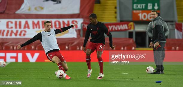 Jordan Henderson captain of Liverpool and Georginio Wijnaldum of Liverpool before the Premier League match between Liverpool and Sheffield United at...