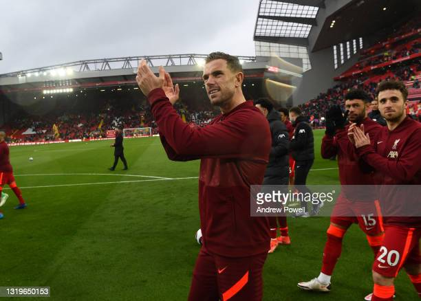 Jordan Henderson captain of Liverpool at the end of the Premier League match between Liverpool and Crystal Palace at Anfield on May 23, 2021 in...
