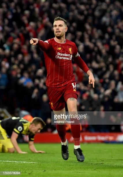 Jordan Henderson captain of Liverpool celebrates after scoring the second goal during the Premier League match between Liverpool FC and Southampton...