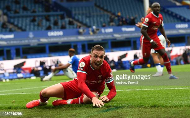 Jordan Henderson captain of Liverpool Celebrates after scoring the third goal for Liverpool But then V.A.R. Cancelled his goal during the Premier...