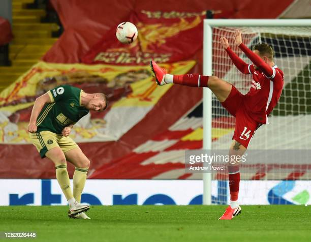 Jordan Henderson captain of Liverpool during the Premier League match between Liverpool and Sheffield United at Anfield on October 24 2020 in...