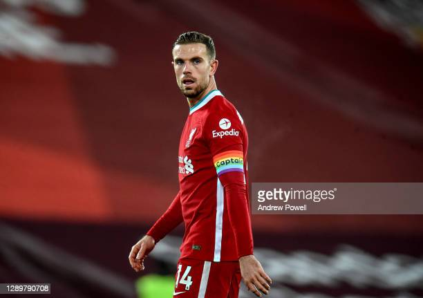 Jordan Henderson captain of Liverpool during the Premier League match between Liverpool and Wolverhampton Wanderers at Anfield on December 06, 2020...