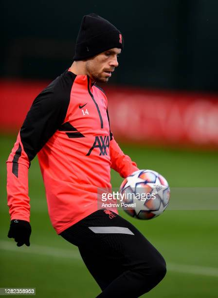 Jordan Henderson captain of Liverpool during the training session at Melwood Training Ground on October 26 2020 in Liverpool England