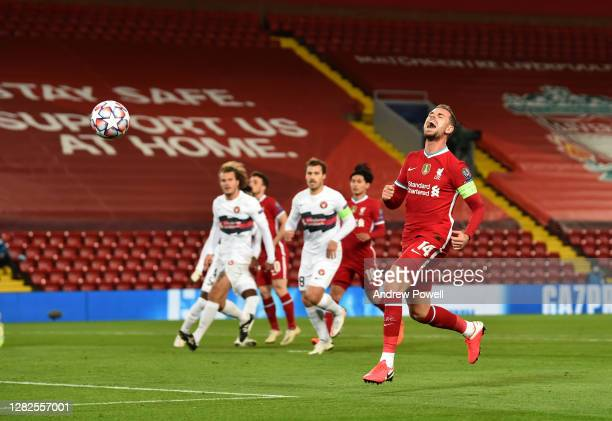 Jordan Henderson captain of Liverpool during the UEFA Champions League Group D stage match between Liverpool FC and FC Midtjylland at Anfield on...