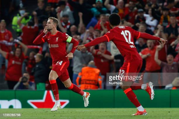 Jordan Henderson celebrates the victory goal during the UEFA Champions League football match Group B - Liverpool FC vs AC Milan on September 15, 2021...
