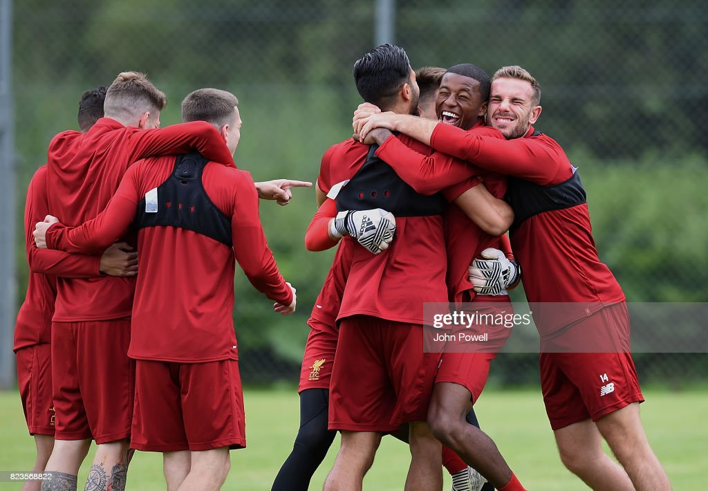 Jordan Henderson, Georginio Wijnaldum and Emre Can of Liverpool during a training session at Rottach-Egern on July 27, 2017 in Munich, Germany.