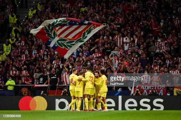 Jordan Henderson, James Milner, Joel Matip, Sadio Mane, Mohamed Salah and Trent Alexander-Arnold celebrates a goal during UEFA Champions League match...