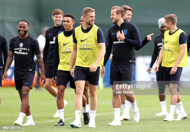 Jordan Henderson jokes with Harry Kane during the England training session on June 21 2018 in Saint Petersburg Russia
