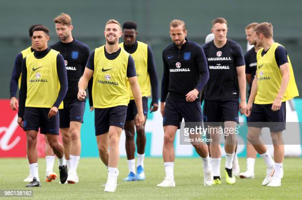 Jordan Henderson looks on during the England training session on June 21 2018 in Saint Petersburg Russia