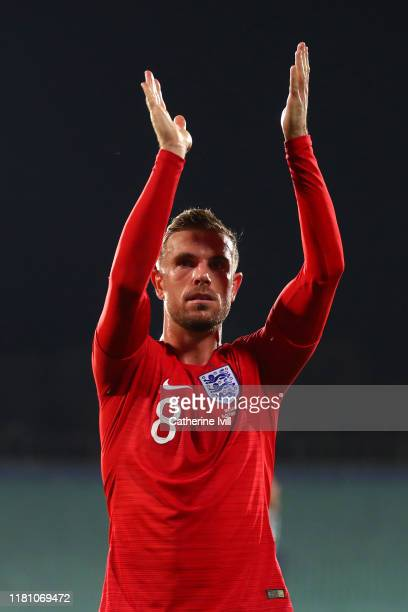 Jordan Henderson of England acknowledges the fans during the UEFA Euro 2020 qualifier between Bulgaria and England on October 14, 2019 in Sofia,...
