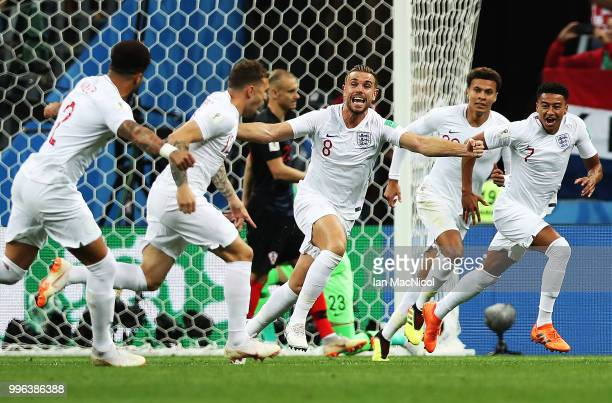 Jordan Henderson of England celebrates after Kieran Trippier of England scores the opening goal during the 2018 FIFA World Cup Russia Semi Final...