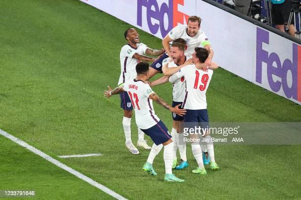 Jordan Henderson of England celebrates after scoring a goal to make it 0-4 during the UEFA Euro 2020 Championship Quarter-final match between Ukraine...