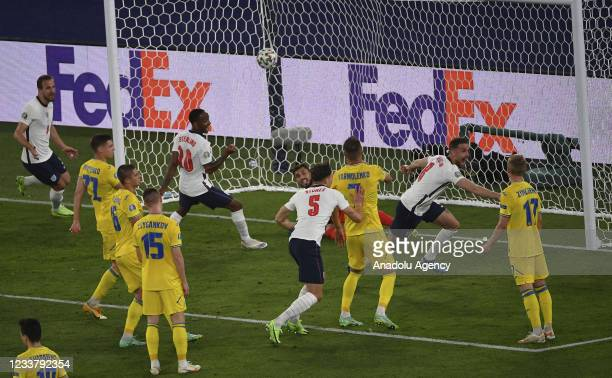 Jordan Henderson of England celebrates after scoring during the UEFA EURO 2020 quarterfinal football match between Ukraine and England at the Olympic...