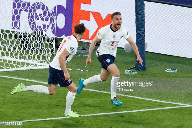 Jordan Henderson of England celebrates after scoring his team's fourth goal during the UEFA Euro 2020 Championship Quarter-final match between...