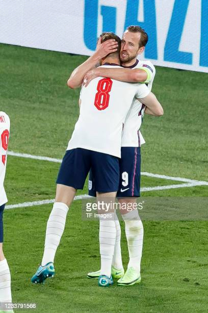 Jordan Henderson of England celebrates after scoring his team's fourth goal with Harry Kane of England during the UEFA Euro 2020 Championship...