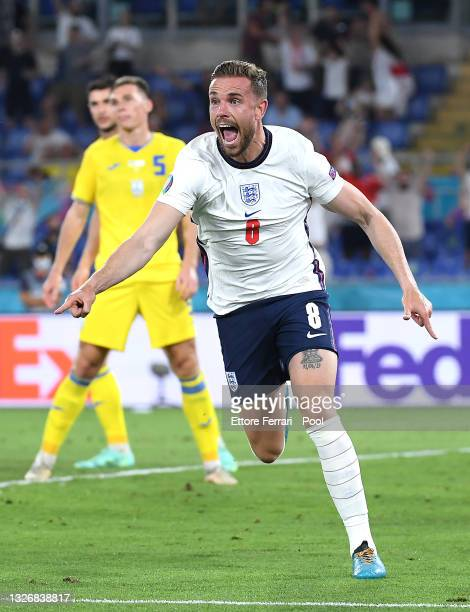 Jordan Henderson of England celebrates after scoring their side's fourth goal during the UEFA Euro 2020 Championship Quarter-final match between...