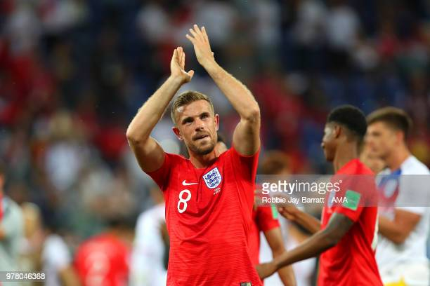 Jordan Henderson of England celebrates at the end of the 2018 FIFA World Cup Russia group G match between Tunisia and England at Volgograd Arena on...