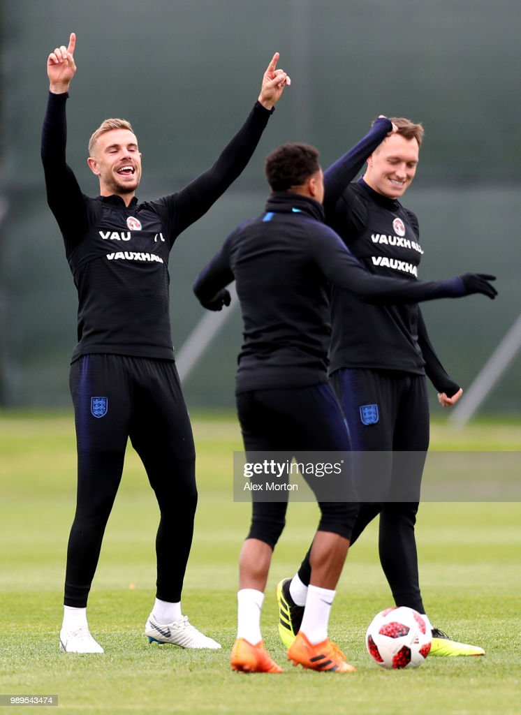 Jordan Henderson of England celebrates during the England training session at the Stadium Spartak Zelenogorsk on July 2, 2018 in Saint Petersburg, Russia.