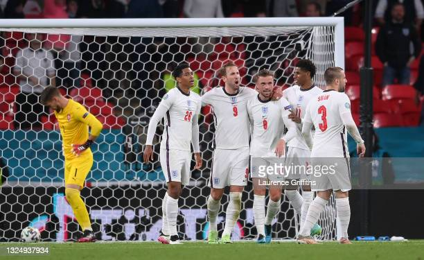 Jordan Henderson of England celebrates scoring a goal which is later disallowed for offside during the UEFA Euro 2020 Championship Group D match...