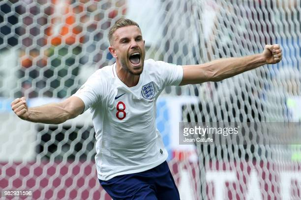 Jordan Henderson of England celebrates the first goal during the 2018 FIFA World Cup Russia group G match between England and Panama at Nizhniy...