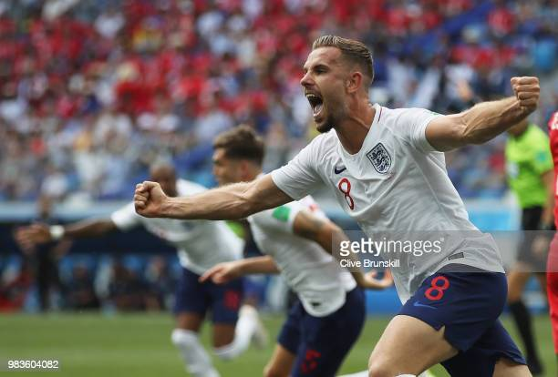 Jordan Henderson of England celebrates the opening goal scored by John Stones during the 2018 FIFA World Cup Russia group G match between England and...