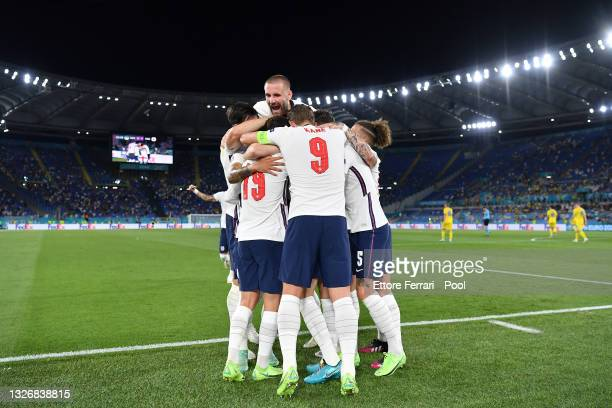 Jordan Henderson of England celebrates with Luke Shaw and team mates after scoring their side's fourth goal during the UEFA Euro 2020 Championship...