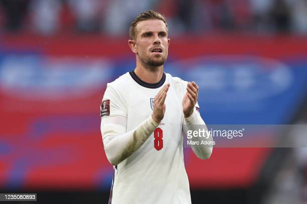 Jordan Henderson of England during the 2022 FIFA World Cup Qualifier between England and Andorra at Wembley Stadium on September 5, 2021 in London,...
